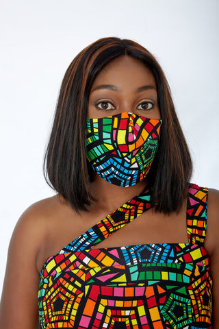 New in 3-D African Print Facemask | Reusable African Print Facemask - Zydanna - African Clothing from CUMO LONDON