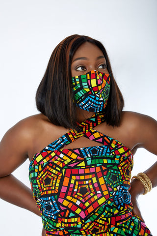 matching ankara facemask and dress