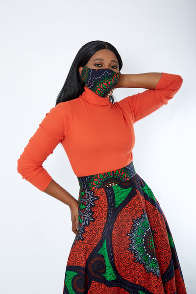 New in 3-D African Print Facemask | Reusable African Print Facemask - Clare - African Clothing from CUMO LONDON