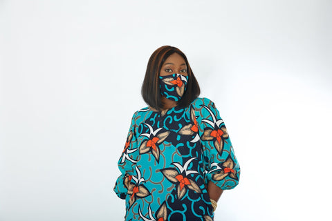 New in 3-D Reusable African Print Facemask | Ankara Print Facemask - Udo - African Clothing from CUMO LONDON