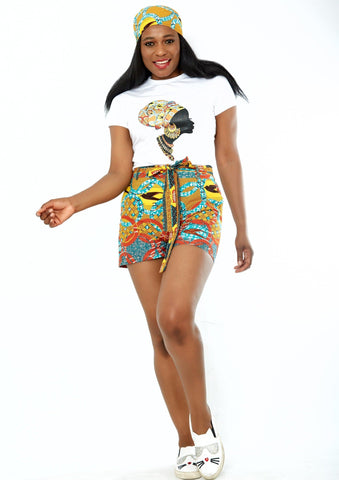 African print t shirt and shorts perfect summer fashion