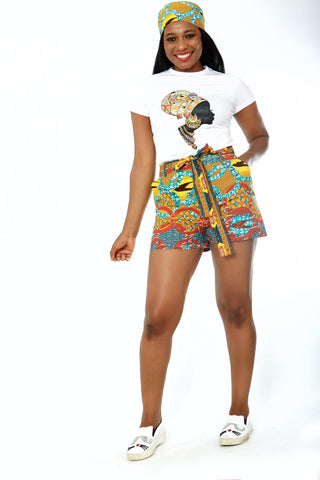 African Print Short Sleeve Tee Shirt and Shorts Set - Biola - African Clothing from CUMO LONDON