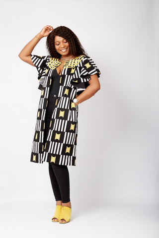 New In Embellished Audre African Print Midi Jacket