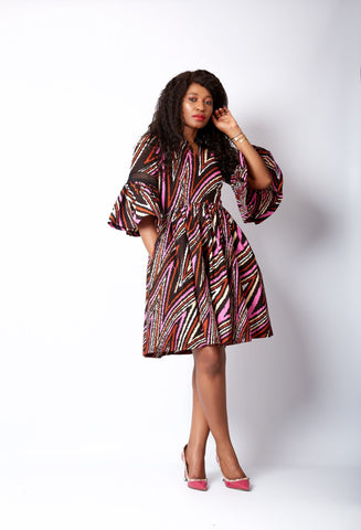 New in L'amour African Print Flare Midi Dress - Jemela