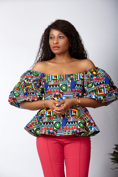 New in African Print Peplum Blouse/Top - Jessica