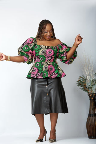 New in African Print Peplum Blouse/Top - Renee