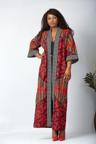 New in African Print Long Kimono Jacket - Ikoyi