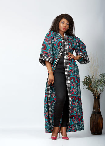 New in African Print Long Kimono Jacket - Kaye