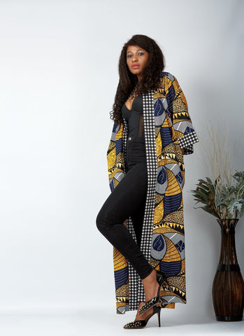 New in African Print Long Kimono Jacket - Cecey