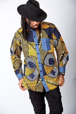 New in African Print Shirt for Men - Kobby