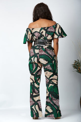 New in Off Shoulder African Print Jumpsuit - Munachi