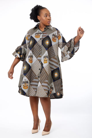 Ezinne African Ankara Print Cut out Shift Shirt Dress