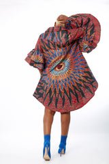 Omon African Ankara Print Cut out Shift Shirt Dress