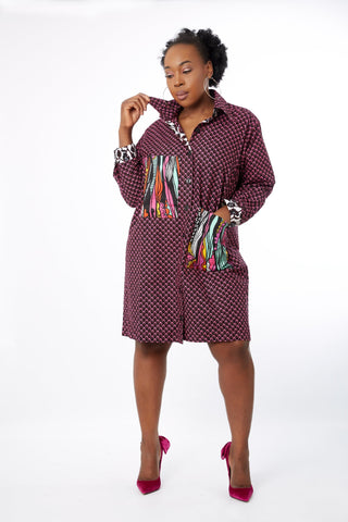 Amina - African Ankara Print Cut out Shift Shirt Dress