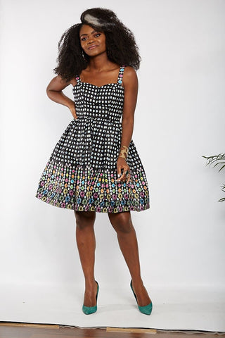 New in African Print Summer Shift Mini Dress - Black