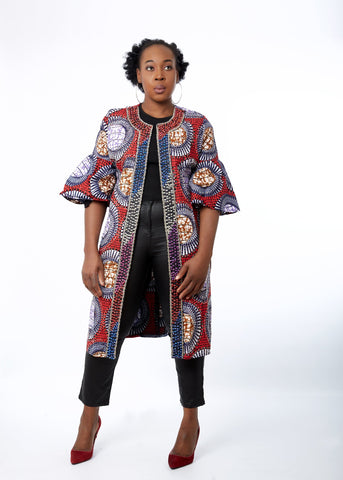 Remmy African Print Embellished Duster Midi Jacket