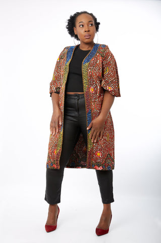 New in Hand-beaded Embellished African Print Kimono Jacket - Onyii