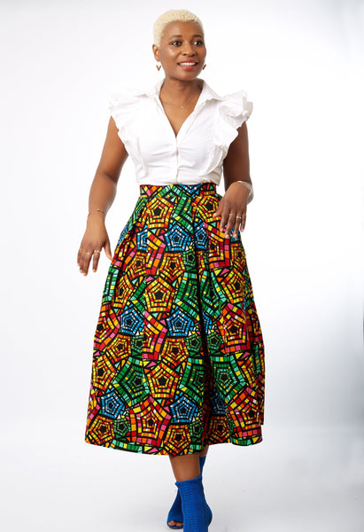 New in African Print Box Pleat Midi Skirt