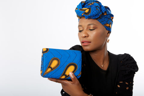 African Print Shoulder Bag Crossbody Ankara Print Bag with Matching Headwrap - Nelly
