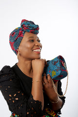 African Print Shoulder Bag Crossbody Bag with Matching Headwrap - Uzoh