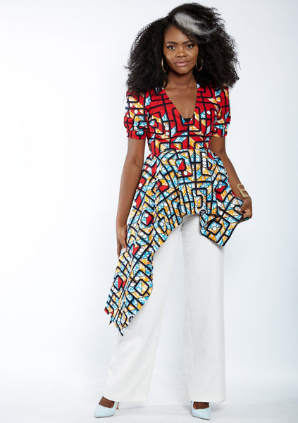 New In - Zuriel Vienna African Print Asymmetric Blouse/Top - ATMKollectionz