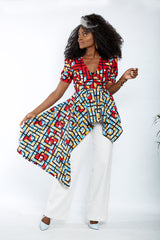 New In - Zuriel Vienna African Print Asymmetric Blouse/Top - African Clothing from CUMO LONDON