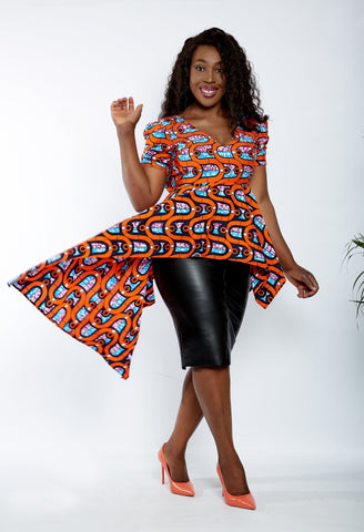 Zuriel - Leon African Print Asymmetric Blouse/Top - ATMKollectionz