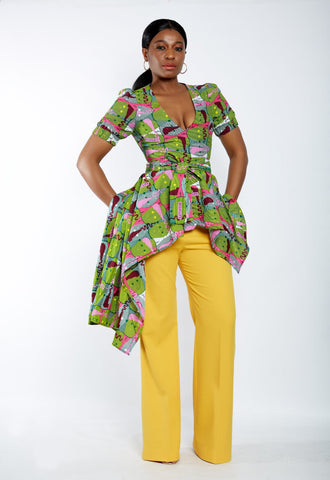 New In - Zuriel Venna African Print Asymmetric Blouse/Top - African Clothing from CUMO LONDON