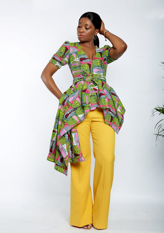 New In - Zuriel Venna African Print Asymmetric Blouse/Top - ATMKollectionz