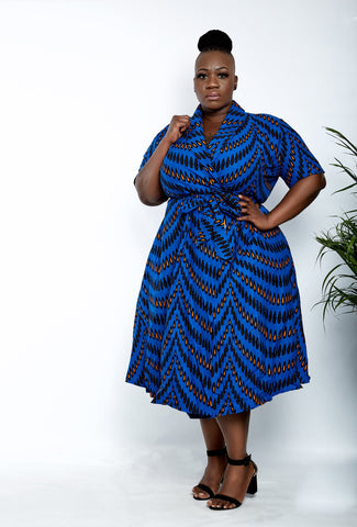 African Print Wrap Midi Dress - Lola - ATMKollectionz