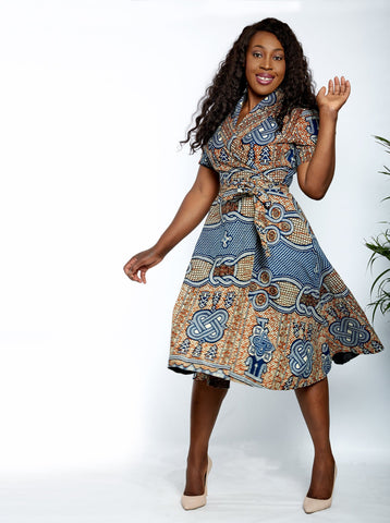 African Print Wrap Midi Dress - Kyamma - African Clothing from CUMO LONDON