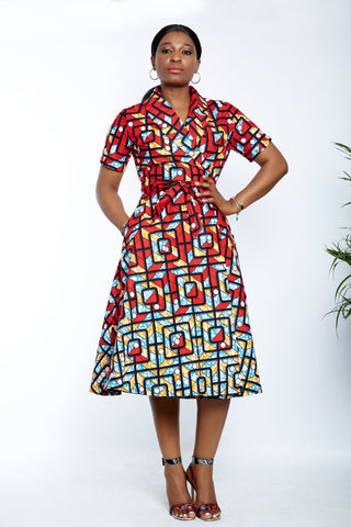 African Print Wrap Midi Dress - Tolani - African Clothing from CUMO LONDON