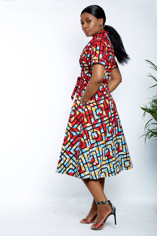 African Print Wrap Midi Dress - Tolani - ATMKollectionz