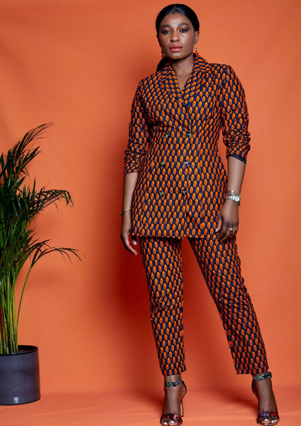 Deniola African Print Double Breasted Blazer - ATMKollectionz