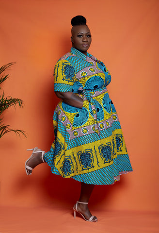 African Print Wrap Midi Dress - Kemmy - ATMKollectionz
