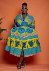 African Print Wrap Midi Dress - Kemmy - African Clothing from CUMO LONDON