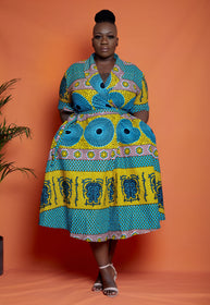 African Print Wrap Midi Dress - Kemmy