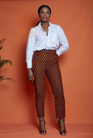 African Print Fitted Trousers - Deniola - African Clothing from CUMO LONDON