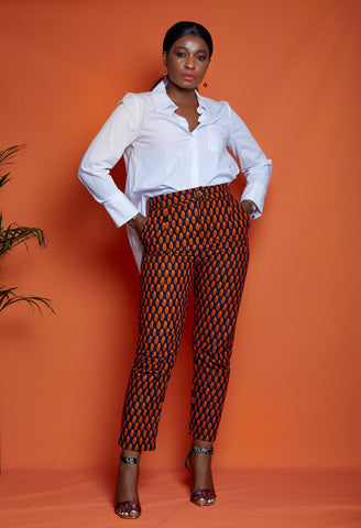 African Print Fitted Trousers - Deniola - ATMKollectionz