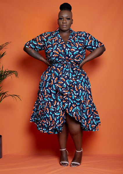New in: African Print Wrap Midi Dress - Olla - African Clothing from CUMO LONDON
