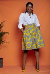 African Print Box Pleat Skirt - ATMKollectionz