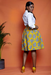 African Print Box Pleat Skirt - African Clothing from CUMO LONDON