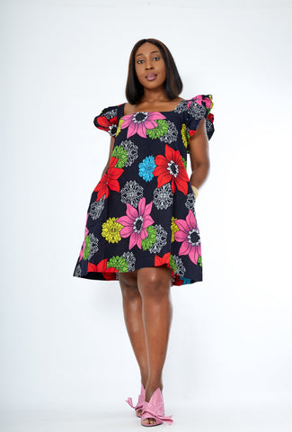 New in African Print Summer A Line Mini Dress - Sholla