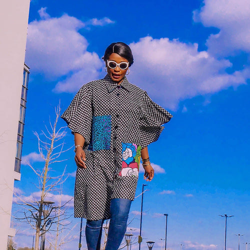 Mixed Print Flare Sleeve Oversized Shirt Dress