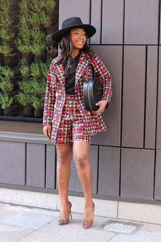 New In Nuella African Ankara Print Jacket and Shorts Set - ATMKollectionz
