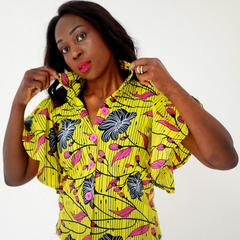 African Print Flare Sleeve Ankara Collar Shirts - Yellow - African Clothing from CUMO LONDON