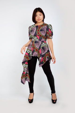 New In - Zuriel African Print Ankara Asymmetric Long Top - African Clothing from CUMO LONDON