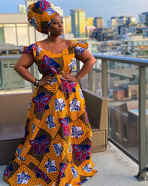 African Print Maxi Dress with cut out sleeves - Flora