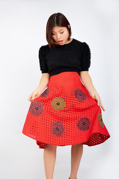Kamara Lace Ankara Combo Embellished Flare Skirt - Red - African Clothing from CUMO LONDON