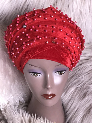 Pearl Beaded Velvet Turban Head Wrap/Hijab - ATMKollectionz